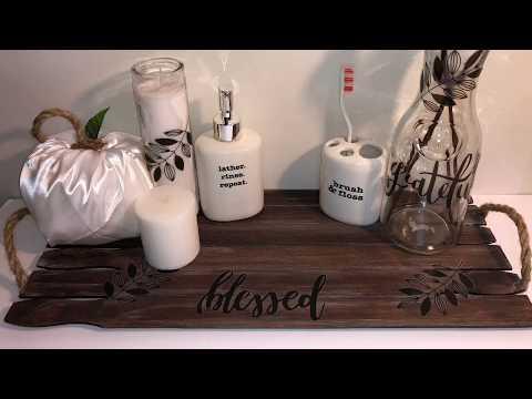 FALL DOLLAR TREE DIY BATHROOM DECOR | WOOD TRAY