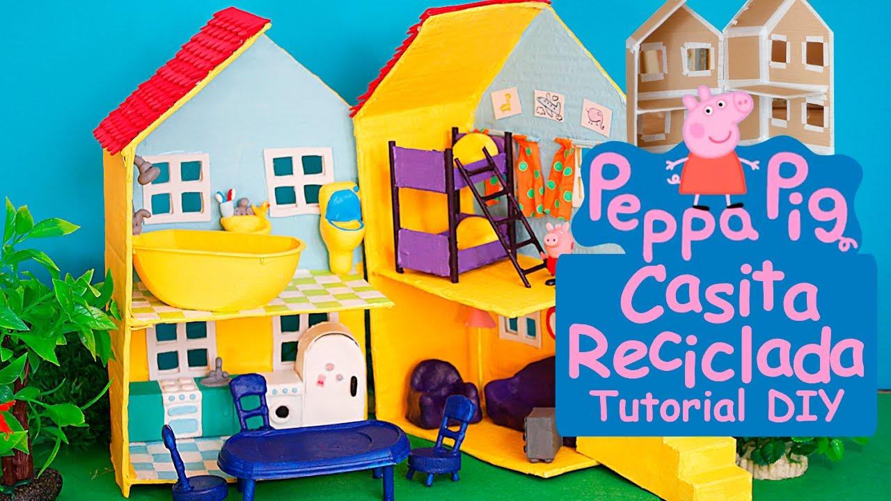 Como hacer la casa de peppa pig reciclada juguetes navidad tutorial manualidades para ni os - Cosas de navidad para hacer en casa ...