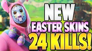 FORTNITE EASTER BUNNY SKIN 24 KILL SQUAD GAME!! - FORTNITE: BATTLE ROYALE | TBNRKENWORTH