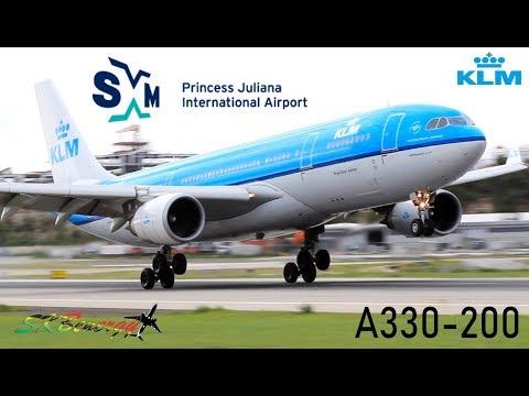KLM A330-200 arrival, taxi, push-back, departure @ Princess Juliana Int'l Airport, St Maarten