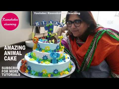 How To Make Cool Jungle Wild Animal Cake DesignZoo Decorating1st Birthday Ideas
