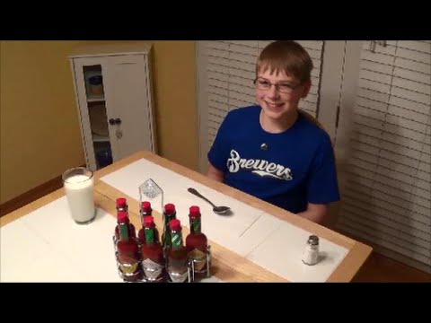 11-year-old eats 7 tablespoons of Tabasco, all flavors : Crude Brothers