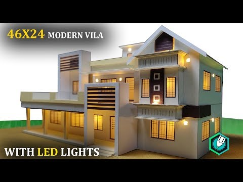 HOW to MAKE a CARDBOARD house with LED LIGHTS  PART 2 | 46X24 | CONTEMPORARY MODERN HOUSE