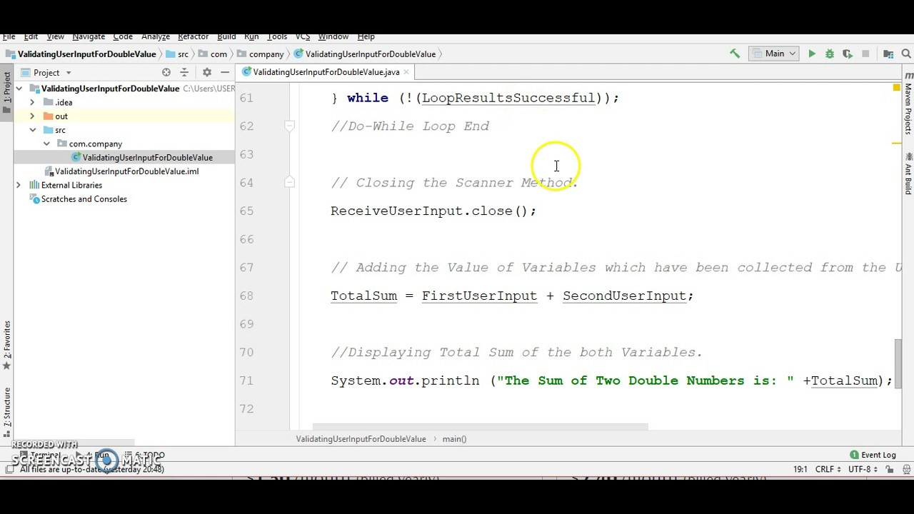Validating user input java
