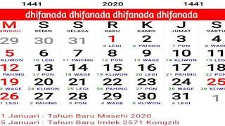 Gambar cover Kalender 2020 lengkap dengan hari libur