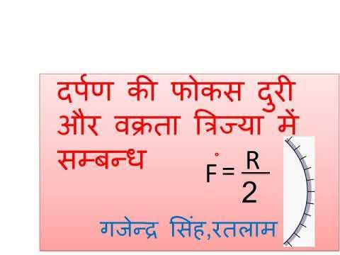 Focal length and radius of curvature relation concave mirror in hindi  gajendra Singh rathore ratlam Mp3