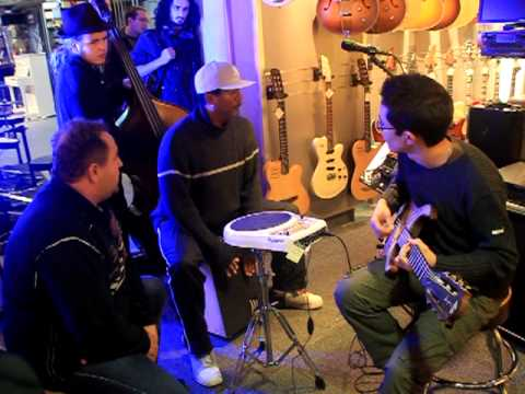 Jam funky dans un magasin de musique
