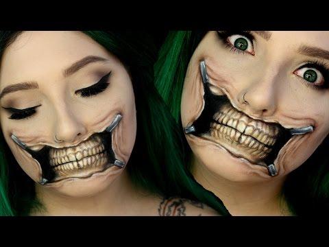 Torn Skull Mouth Halloween Makeup Tutorial | Jordan Hanz
