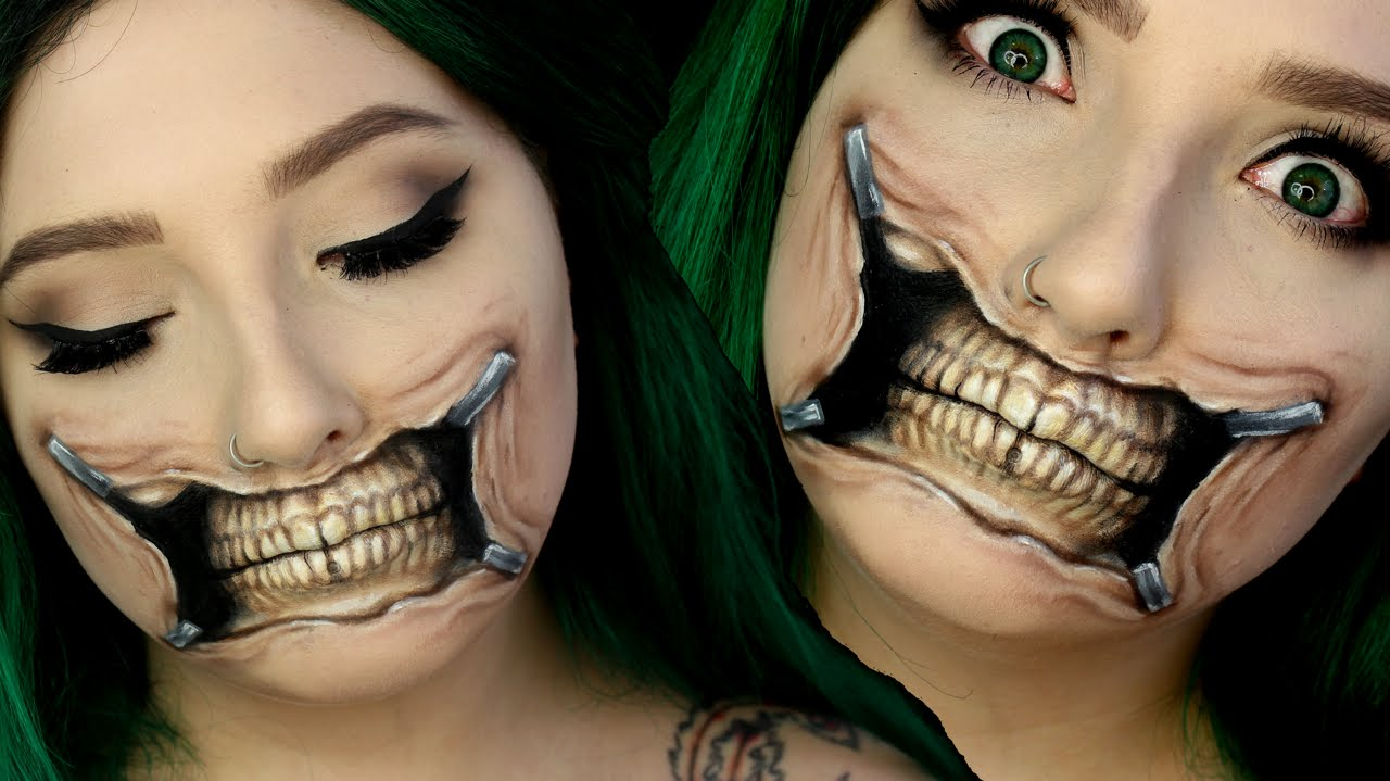 Torn Skull Mouth Halloween Makeup Tutorial | Jordan Hanz - YouTube
