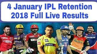 IPL Retention 4 January 2018: Live Full Results   CSK, MI, RCB, KKR, SRH, KXIP, DD, RR  
