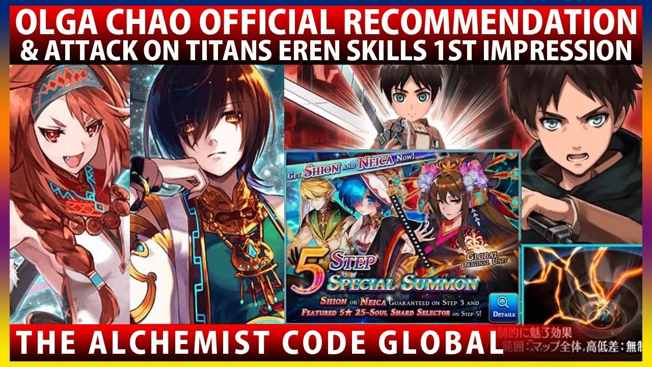 Attack on Titans Collab Eren Overview, Global's Olga Chao Official Build &  Shion 3 Step Summon (TAC)