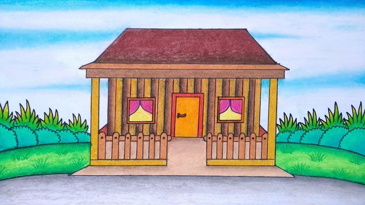Cara Menggambar Rumah Adat Menggambar Rumah Adat Jawa Barat Youtube