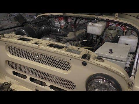УазТех: Установка Om603 на УАЗ 469 с КПП Mercedes и РК Nissan