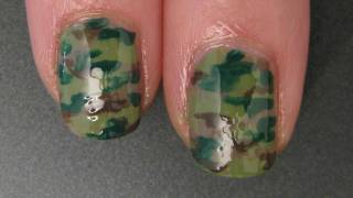 Camouflage Print Nails - Nail Art Tutorial