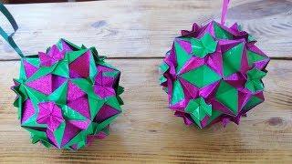Подарок, Украшение Интерьера Своими Руками.Как Сделать Модуль Бумажного шара Кусудама Кассиопея