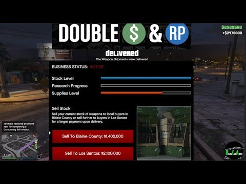 GTA 5 Gunrunning Double $ (Selling FULL Stock From Bunker $2,478,000)