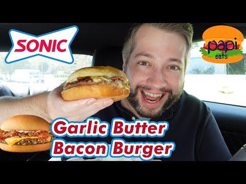 Sonic Drive In Jr Garlic Butter Bacon Burger Youtube