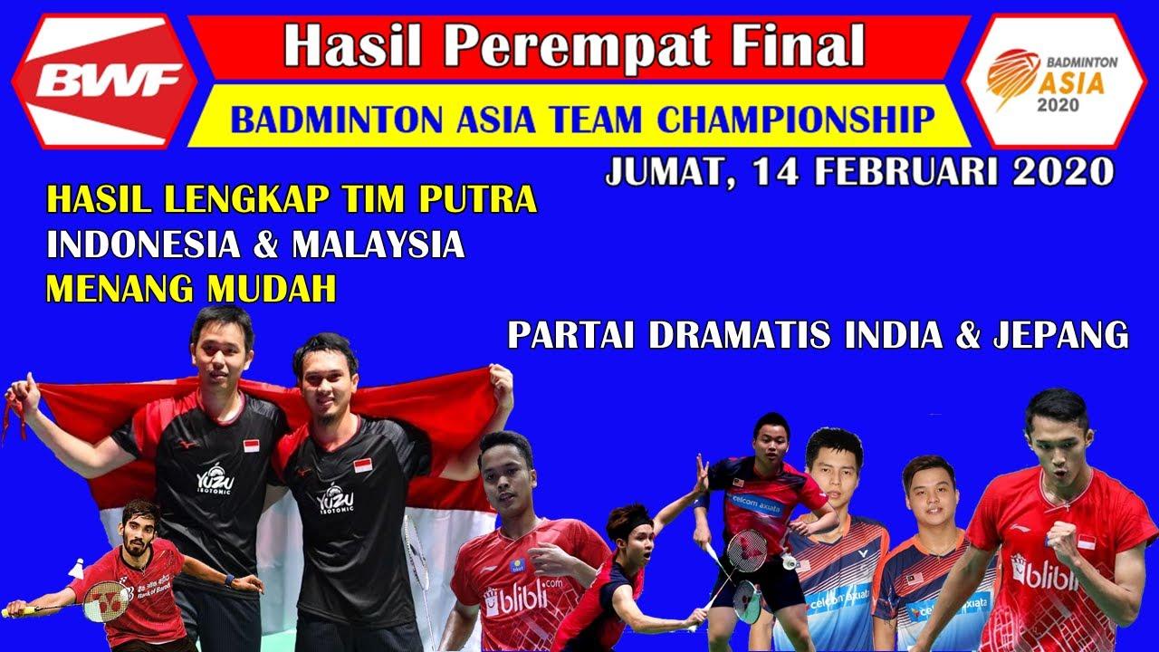 Hasil Lengkap Perempat Final Badminton Asia Team