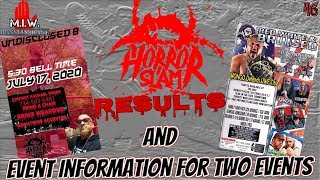 Horror Slam results and event information for two events MIW EP 46