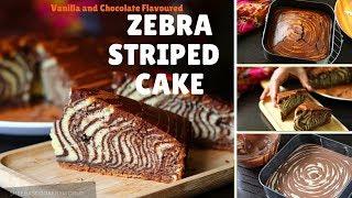 Vanilla and Chocolate Flavoured Zebra Striped Cake | Delicious Cake Recipes