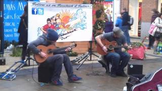 the showhawk duo in bristol broadmead busking