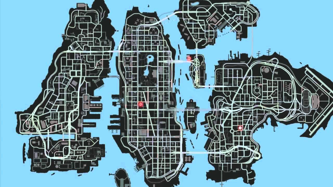 Gta 4 map with hidden spots and cars