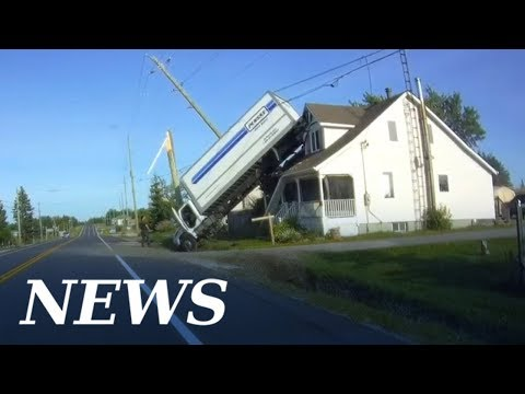 Don Action Jackson - Truck Hits Power Pole And Ends Up Parked On The Roof Of A House