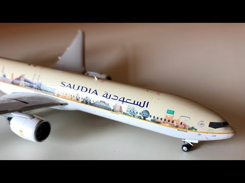 """Saudia B777-300ER Aircraft Model in """"Watan Al Majed """" Livery Unboxing"""