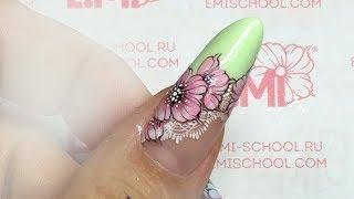 Цветок на ногтях сама себе! Френч с росписью