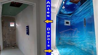 Porcelanato liquido 3d em parede teto e piso