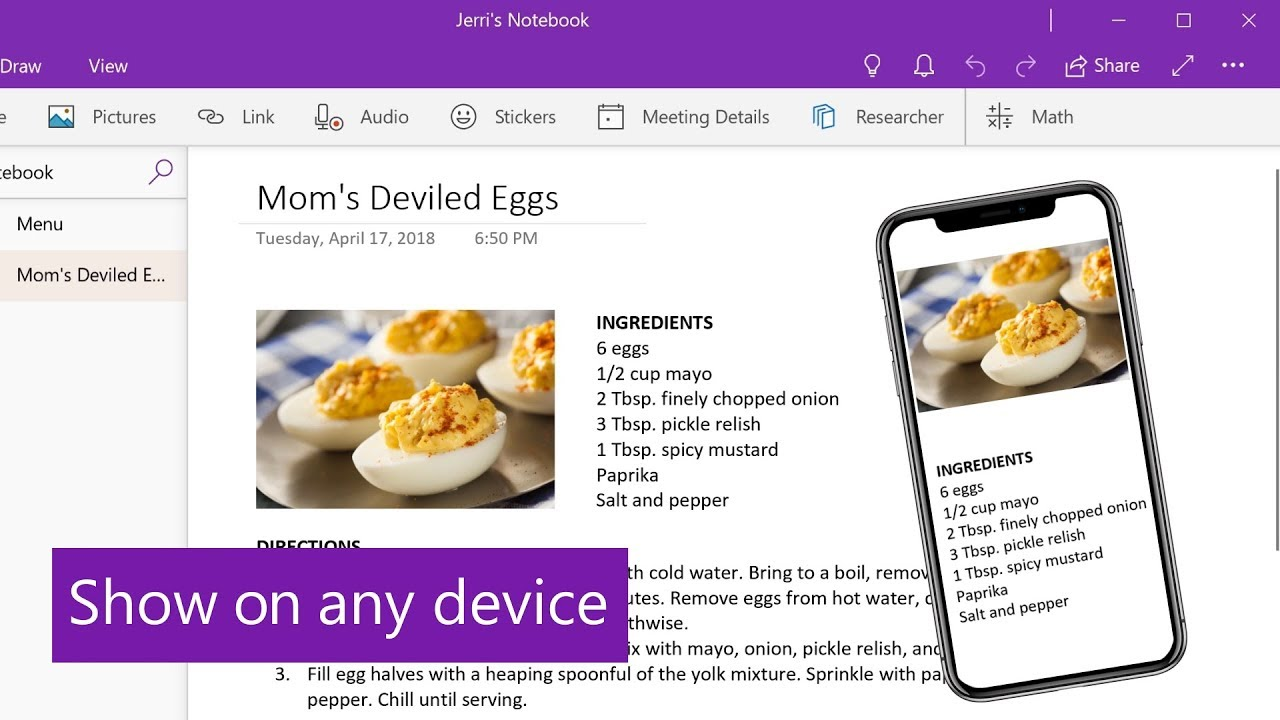 Create and share a party menu with OneNote