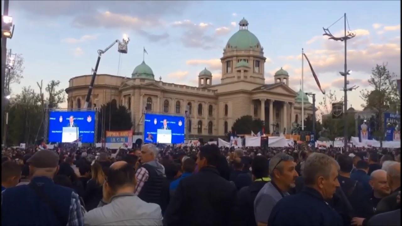 Белград. Митинг в поддержку президента Сербии (часть1)