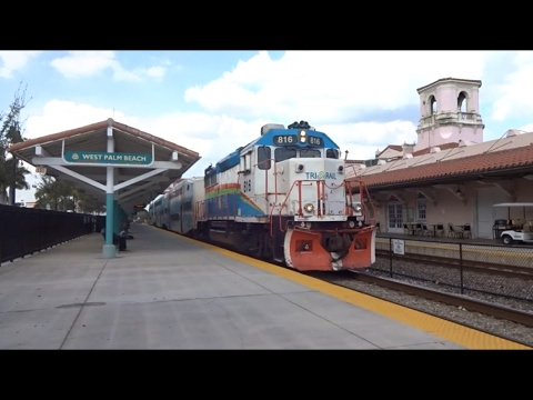 HD - Tri-Rail Trains at West Palm Beach Station