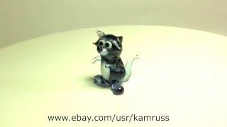 Blown Glass Murano Art RACCOON Dollhouse Toy Figurine Ornament Miniature