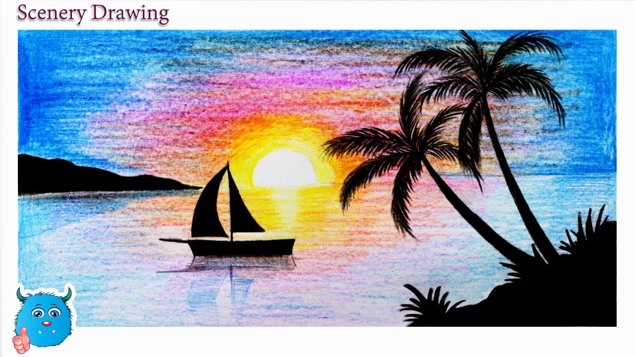 Sunset Scenery Drawing In Pencil For Beginners Step By