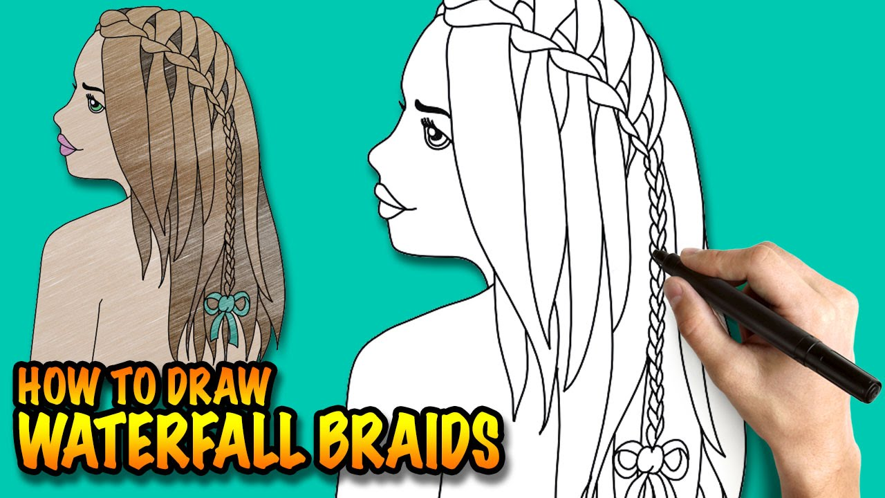How to draw waterfall braids - Easy step-by-step drawing ...