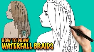 How to draw waterfall braids - Easy step-by-step drawing lessons for kids