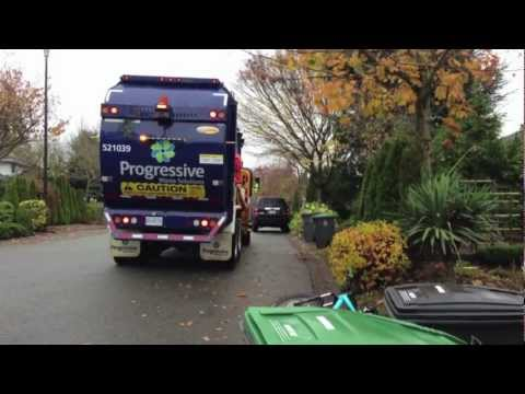 Progressive Waste Solutions New Mack Leu CNG Labrie Automizers Sanitation trucks in action