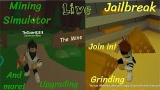 Playing Mining Simulator,Roblox Jailbreak,Natural Disaster and more!(Grinding,Mining,Winning)