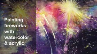 How To Paint Fireworks - Watercolor (Speed Painting)