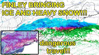 Winter Storm Finley to Bring Heavy Snow and Ice to the Northeast, Causing Issues as Night Falls!!