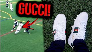 Playing football in *GUCCI SHOES* WITH STUDS! (I SCORED A BANGER) !!