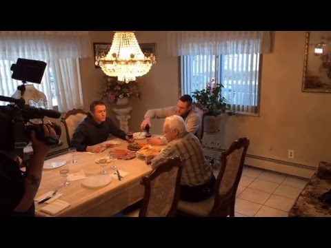 Danilo Gallinari with Vic Lombardi having lunch at his Mom's