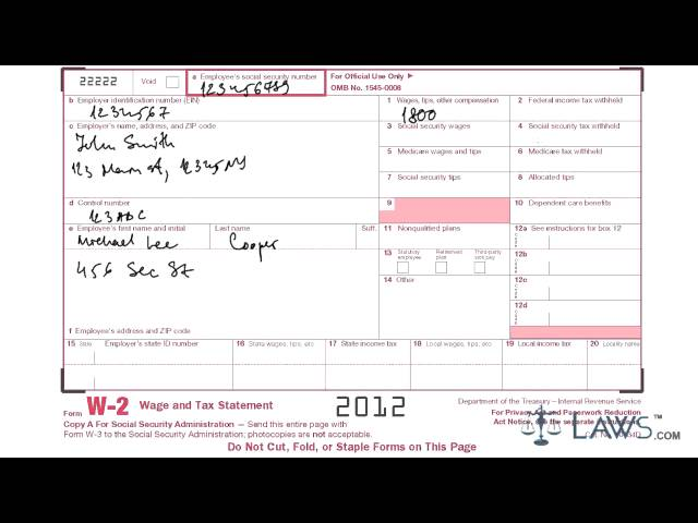 w2 form filled out example  Learn how to fill w 13 Tax form - YouTube