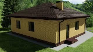 Проект небольшого одноэтажного дома Спенсер А-006 с двумя спальнями и кабинетом