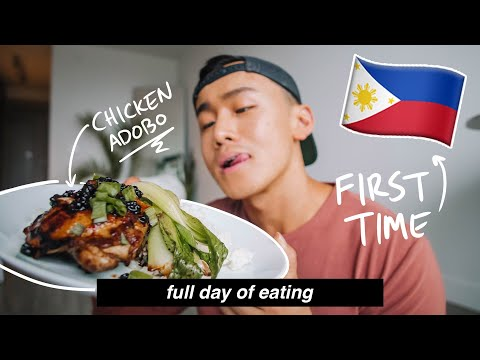First Time Trying Filipino Food: Chicken Adobo, Sinigang & Halo Halo