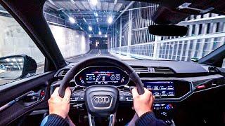 2020 AUDI RS Q3 Sportback 400hp Night POV Drive Autobahn (60fps)