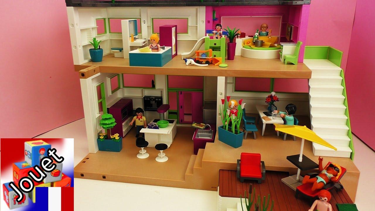 Villa de Luxe Playmobil  avec piscine cuisine sale de bain chambre denfant salon  YouTube