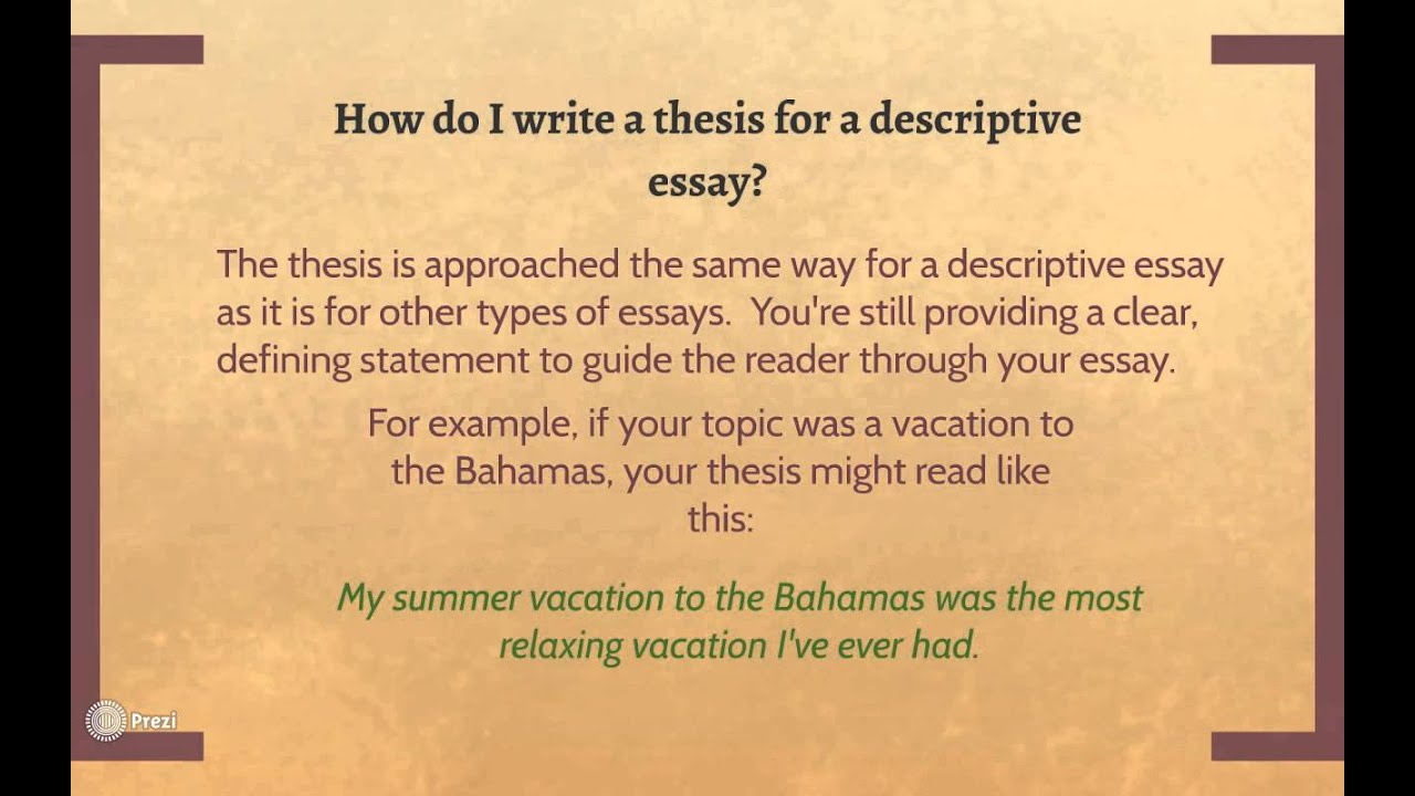 starting a descriptive essay Writing a descriptive essay the aim of description is to make sensory details vividly present to the reader although it may be only in school that you are asked to.
