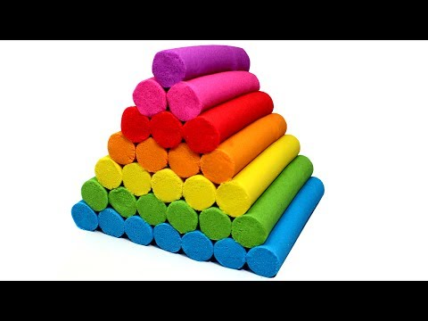 Thumbnail: DIY Kinetic Sand Rainbow Candy Bar Pyramid Learn Colors Cutting Kinetic Sand Bars for Kids